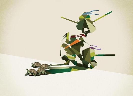 Walking Shadow - Turtles canvas doek