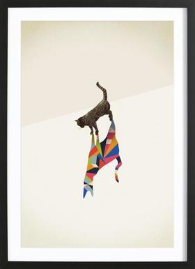 Walking Shadow - Cat ingelijste print