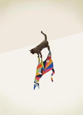 Walking Shadow - Cat canvas doek