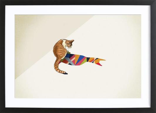 Walking Shadow - Cat 2 Poster in houten lijst
