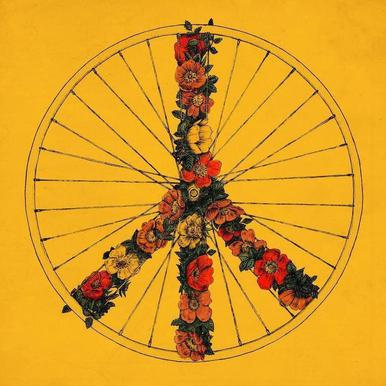Peace & Bike canvas doek