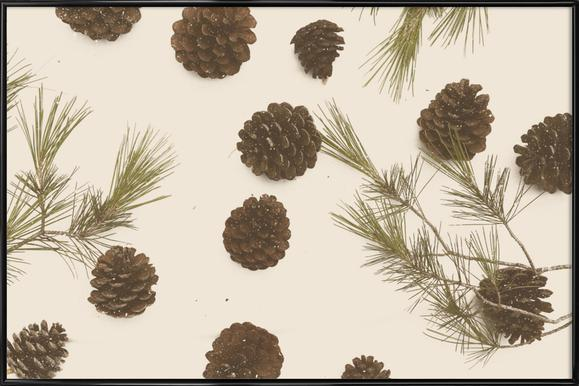 Merry Christmas Pinecones Poster in Standard Frame
