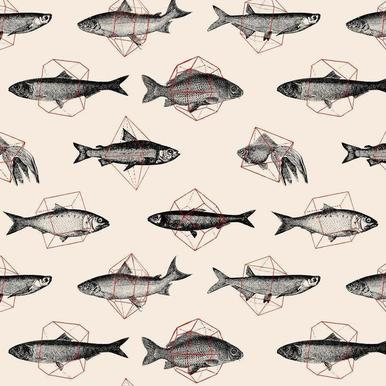 Fishes in Geometrics Canvas Print