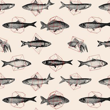 Fishes in Geometrics Aluminium Print