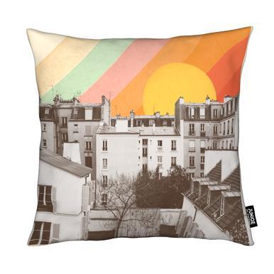Rainbow Sky Above Paris Cushion