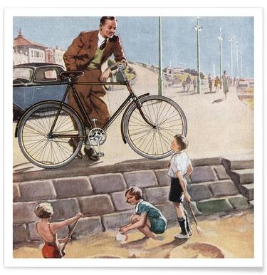 Cycling in The Sand Poster