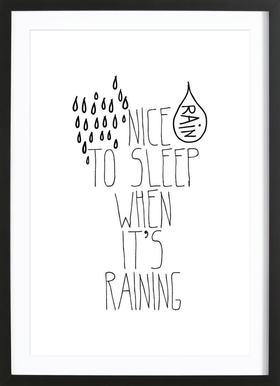 rain Poster in Wooden Frame