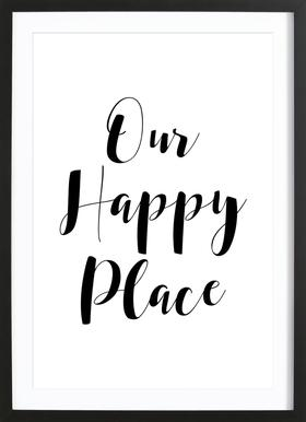 Our Happy Place Poster in Wooden Frame