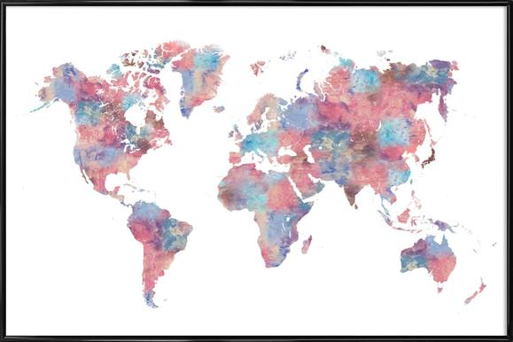 Buy framed world map posters online juniqe uk wanderlust laura oconnor poster in standard frame gumiabroncs
