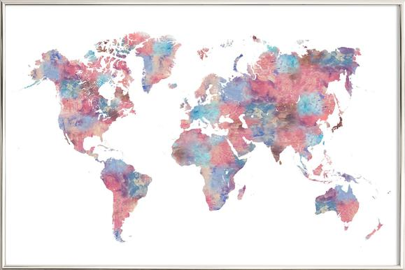 World maps posters in aluminium frames juniqe world maps themes filters wanderlust laura oconnor poster in aluminium frame gumiabroncs Image collections
