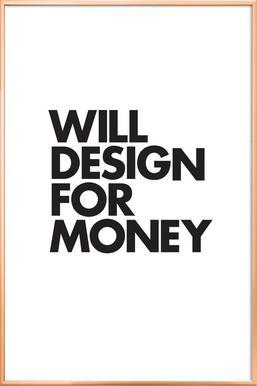 Design For Money affiche sous cadre en aluminium