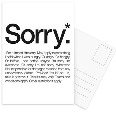 Sorry* (Black) Set de cartes postales