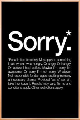 Sorry* (White) affiche sous cadre en aluminium
