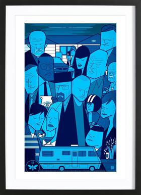 I'm the one who knocks - blue version Poster in houten lijst