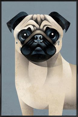 Pug affiche encadrée