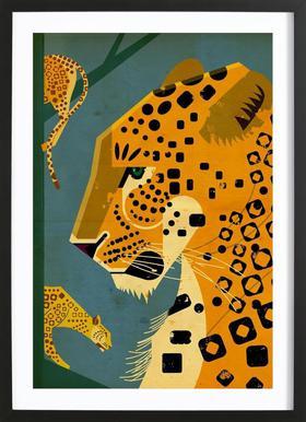 Leopard affiche sous cadre en bois
