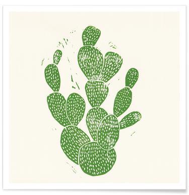 Linocut Cacti Poster