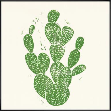 Linocut Cacti Framed Poster