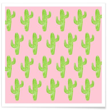 Cacti Minty Pink Poster