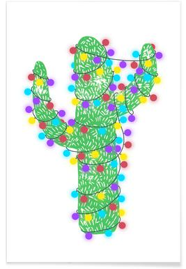 Festive Cacti - Lights On Poster