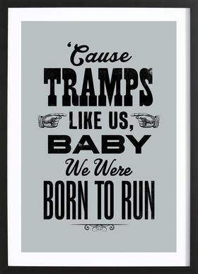BORN TO RUN Poster in Wooden Frame