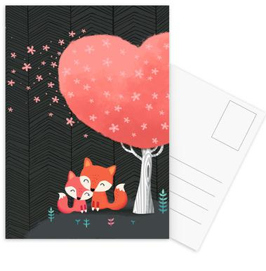 Foxes with Blossom Postcard Set