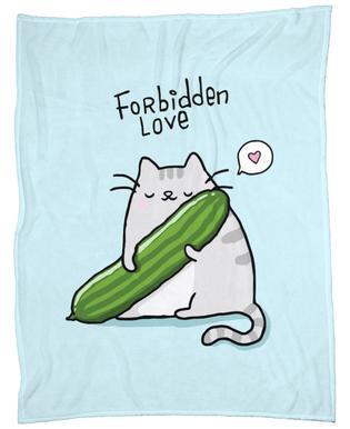 Cat Cucumber Fleece Blanket