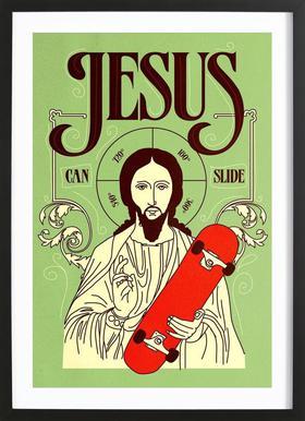 Jesus Can Slide Poster in Wooden Frame