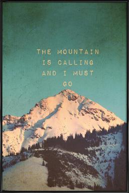 Mountain Is Calling Poster in kunststof lijst