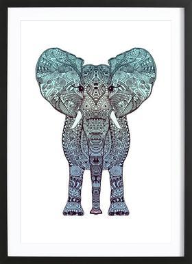 Mint Elephant Poster im Holzrahmen