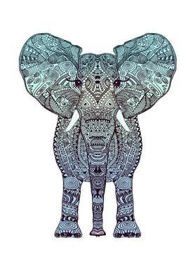 Mint Elephant canvas doek
