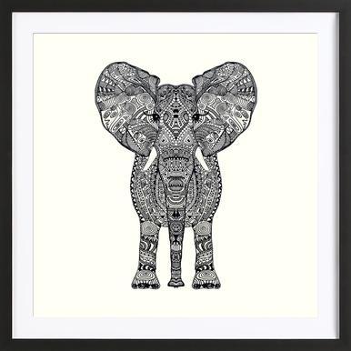 Aztec Elephant Poster im Holzrahmen
