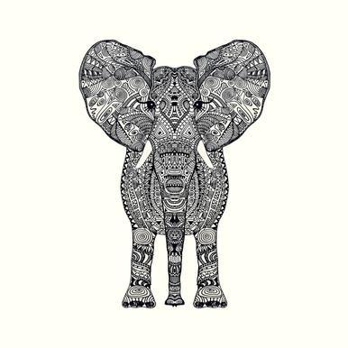 Aztec Elephant canvas doek