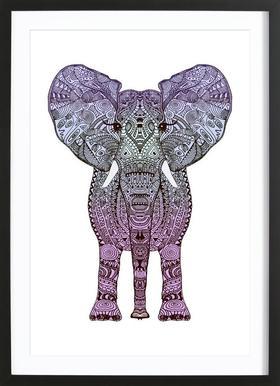 Purple Elephant Poster im Holzrahmen