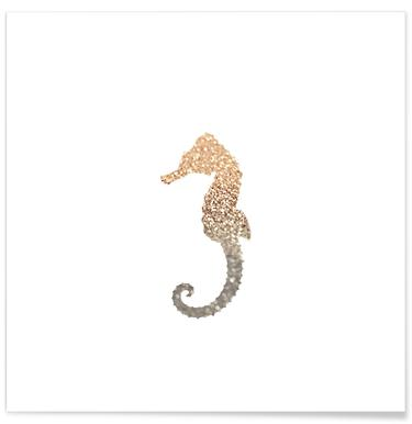 Glitter - Gold Seahorse Poster