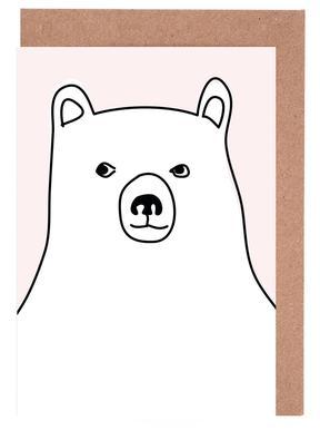 Bear in a Pink Square Set de cartes de vœux