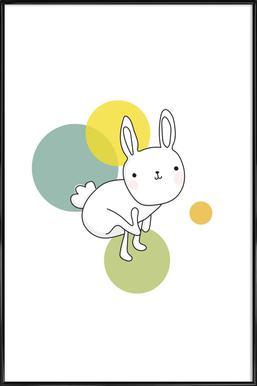 Space Rabbits Luna Poster in kunststof lijst