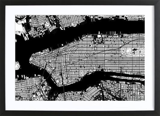New York Black & White Affiche sous cadre en bois
