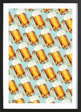 Beer Pattern Affiche sous cadre en bois