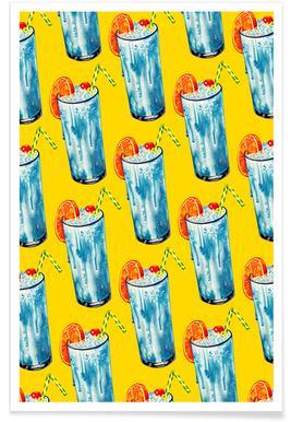 Blue Hawai Pattern Poster