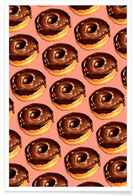 Chocolate Donut Pattern - Pink Poster