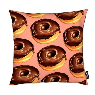 Chocolate Donut Pattern - Pink Cushion
