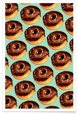 Chocolate Donut Pattern -Teal Poster