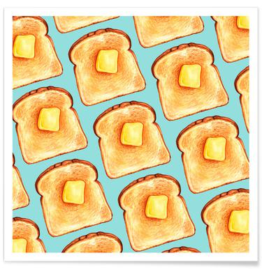 Breakfast Pattern Blue Toast Poster