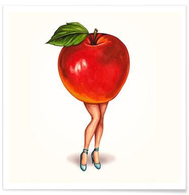 Fruit Girls Apple Poster