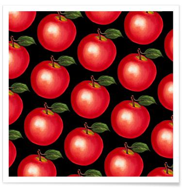 Lunch Patterns Apple Black Poster