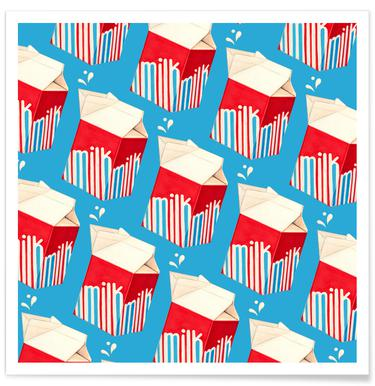 Lunch Patterns Milk Blue Poster