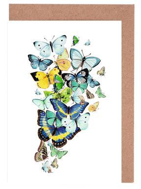 Schmetterlinge Blaugrün Greeting Card Set