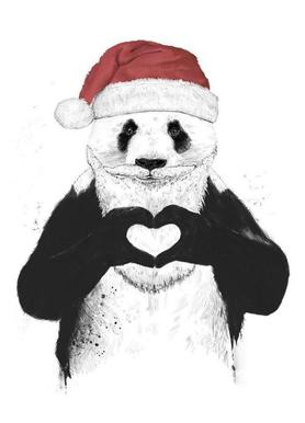 Santa Panda Canvas Print