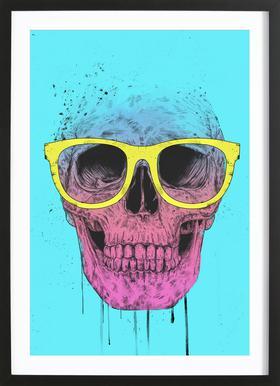 Pop Art Skull Poster in Wooden Frame
